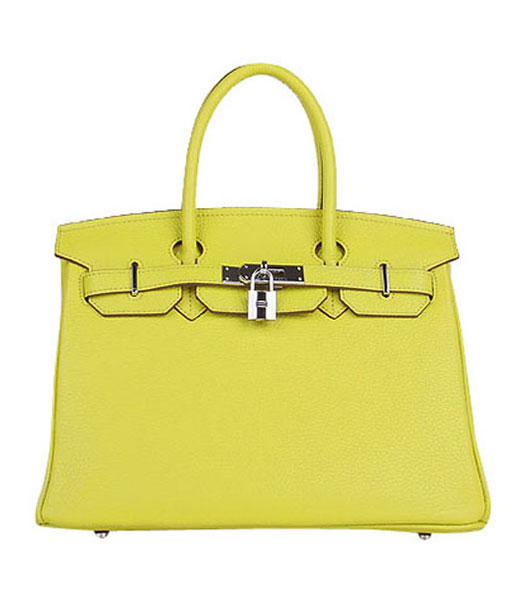 Hermes Birkin 30cm Lemon Yellow Togo Leather Bag Silver Metal