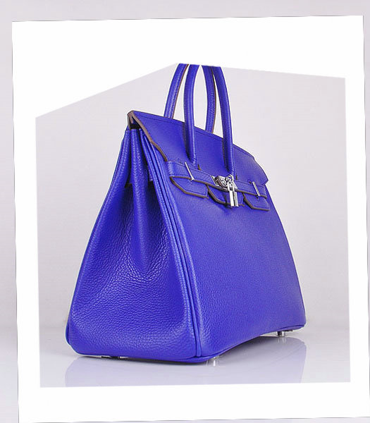 Hermes Birkin 35cm Electric Blue Calfskin Leather Bag Silver Metal-1
