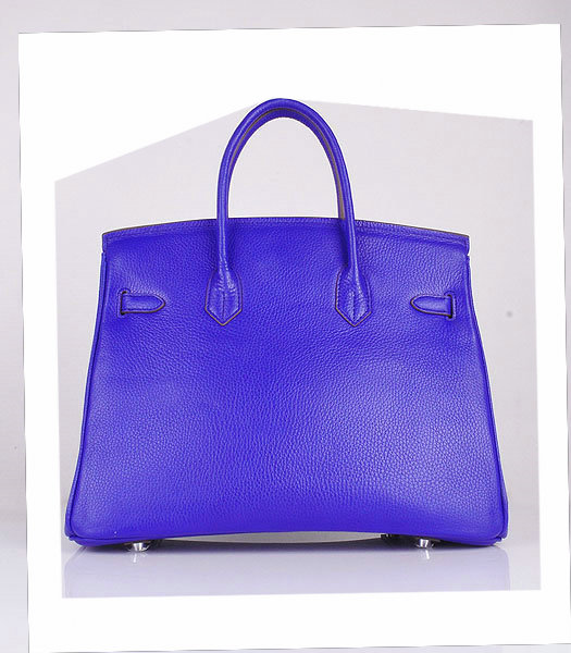 Hermes Birkin 35cm Electric Blue Calfskin Leather Bag Silver Metal-2