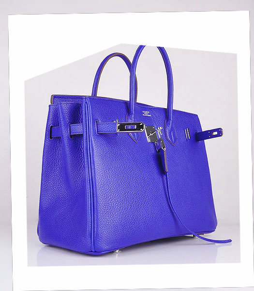 Hermes Birkin 35cm Electric Blue Calfskin Leather Bag Silver Metal-3