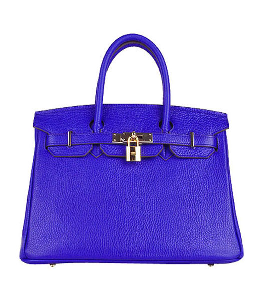 Hermes Birkin 30cm Electric Blue Calfskin Leather Bag Golden Metal