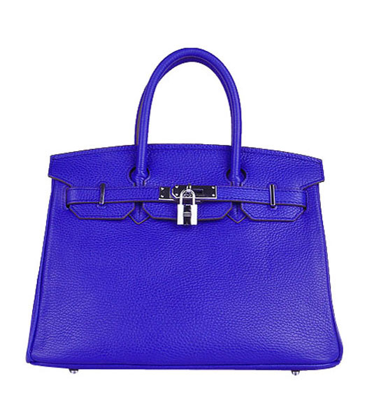 Hermes Birkin 30cm Electric Blue Calfskin Leather Bag Silver Metal
