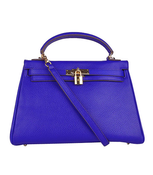 Hermes Kelly 32cm Electric Blue Calfskin Leather Bag with Golden Metal