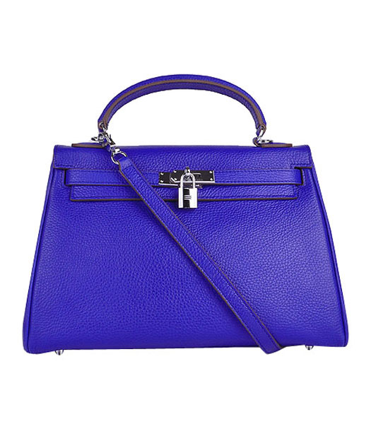 Hermes Kelly 32cm Electric Blue Calfskin Leather Bag with Silver Metal