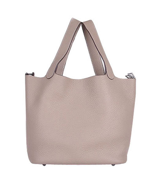 Hermes Picotin Lock PM Basket Bag With Grey Leather
