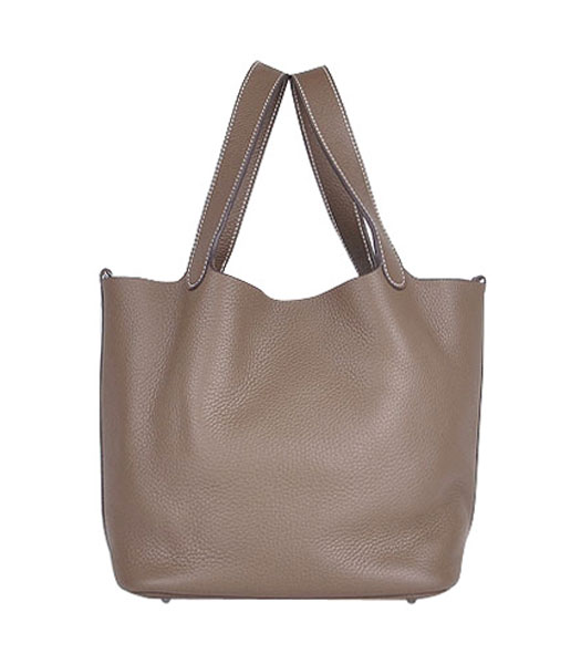Hermes Picotin Lock PM Basket Bag With Dark Grey Leather