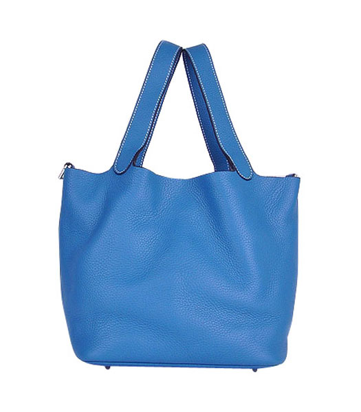 Hermes Picotin Lock PM Basket Bag With Middle Blue Leather