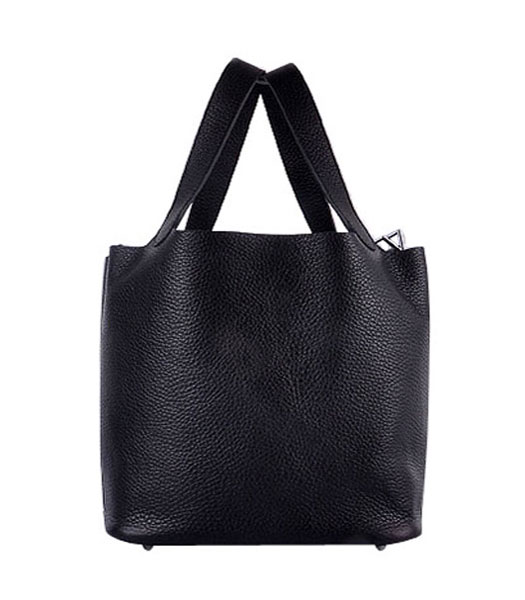 Hermes Picotin Lock PM Basket Bag With Black Leather