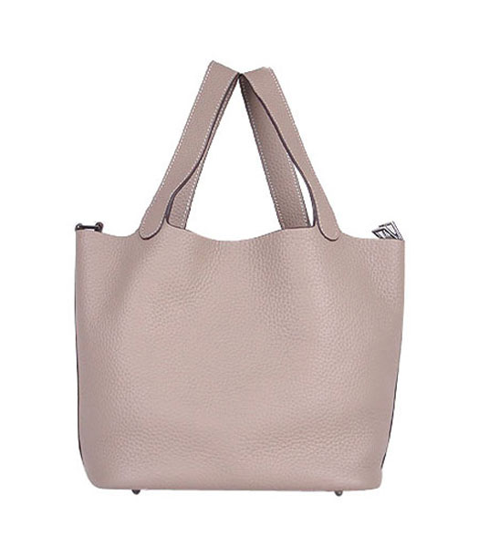 Hermes Picotin Lock MM Basket Bag With Grey Leather