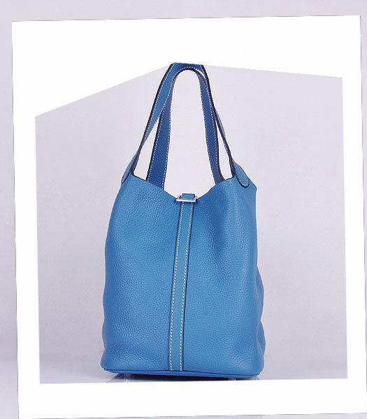 Hermes Picotin Lock MM Basket Bag With Middle Blue Leather-1