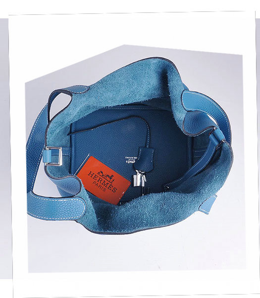 Hermes Picotin Lock MM Basket Bag With Middle Blue Leather-6