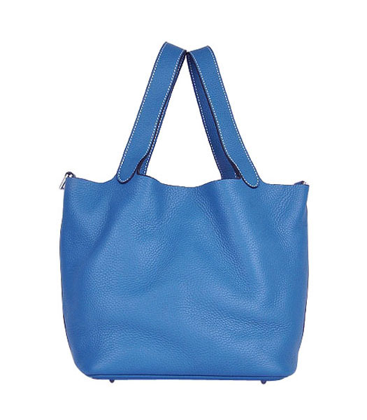 Hermes Picotin Lock MM Basket Bag With Middle Blue Leather