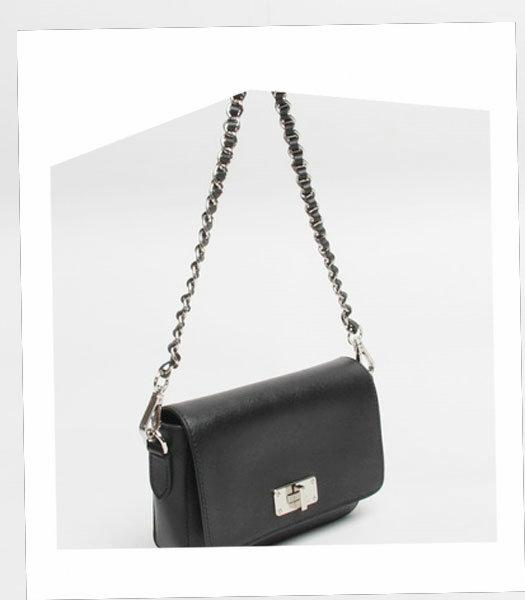Prada Small Black Cross Veins Leather Shoulder Bag 4