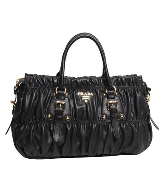 Prada Gaufre Black Lambskin Leather Top Handle Bag With Nail