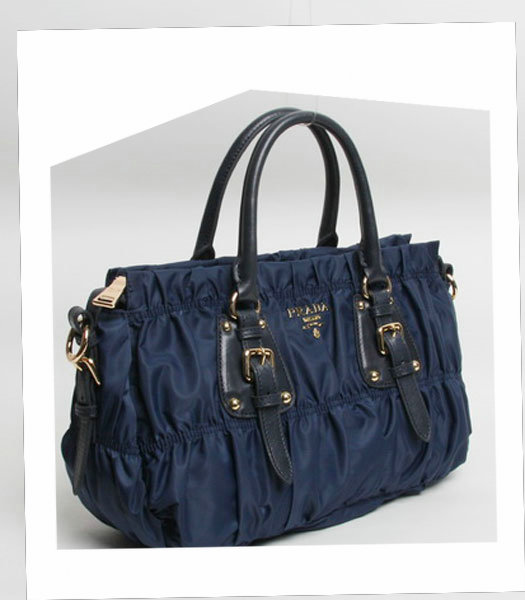 Prada Gaufre Fabric With Dark Blue Leather Top Handle Bag With Nail-1