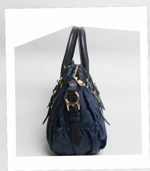 Prada Gaufre Fabric With Dark Blue Leather Top Handle Bag With Nail-2