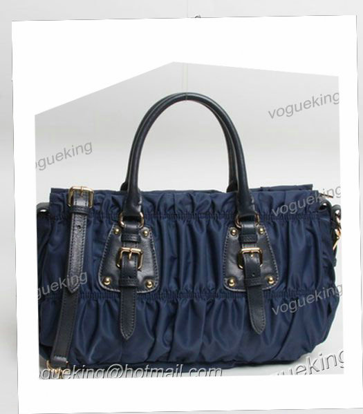 Prada Gaufre Fabric With Dark Blue Leather Top Handle Bag With Nail-3