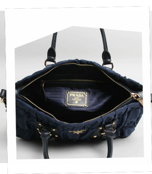Prada Gaufre Fabric With Dark Blue Leather Top Handle Bag With Nail-6