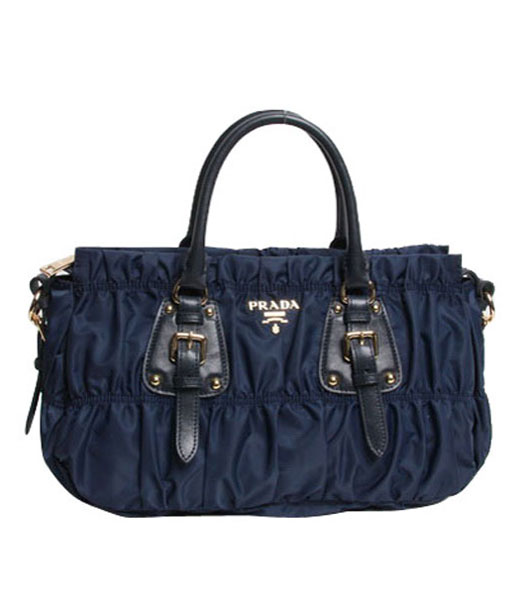 Prada Gaufre Fabric With Dark Blue Leather Top Handle Bag With Nail