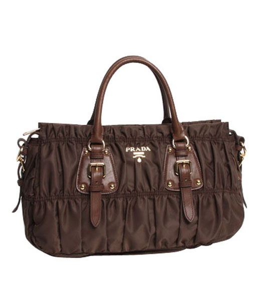 Prada Gaufre Fabric With Dark Coffee Leather Top Handle Bag With Nail