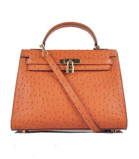Hermes Kelly 32cm Orange Ostrich Veins Leather Bag with Golden Metal