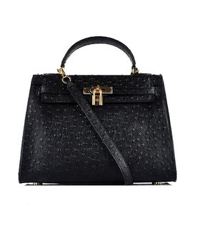 Hermes Kelly 32cm Black Ostrich Veins Leather Bag with Golden Metal
