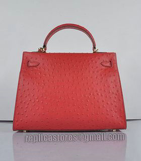 Hermes Kelly 32cm Red Ostrich Veins Leather Bag with Golden Metal-2