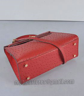 Hermes Kelly 32cm Red Ostrich Veins Leather Bag with Golden Metal-3