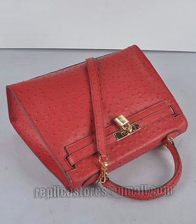 Hermes Kelly 32cm Red Ostrich Veins Leather Bag with Golden Metal-4
