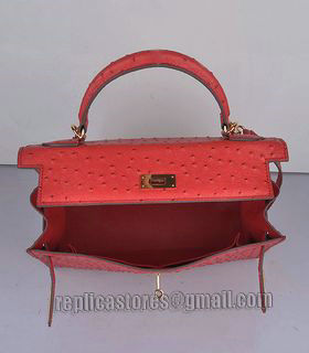 Hermes Kelly 32cm Red Ostrich Veins Leather Bag with Golden Metal-5