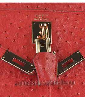 Hermes Kelly 32cm Red Ostrich Veins Leather Bag with Golden Metal-6