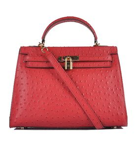 Hermes Kelly 32cm Red Ostrich Veins Leather Bag with Golden Metal