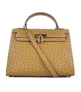 Hermes Kelly 32cm Apricot Ostrich Veins Leather Bag with Golden Metal