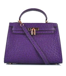 Hermes Kelly 32cm Purple Ostrich Veins Leather Bag with Golden Metal