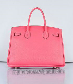 Hermes Birkin 30cm Lipstick Pink Togo Leather Bag Golden Metal-2