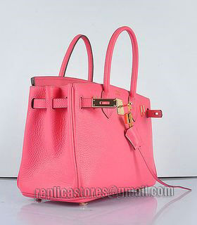 Hermes Birkin 30cm Lipstick Pink Togo Leather Bag Golden Metal-3