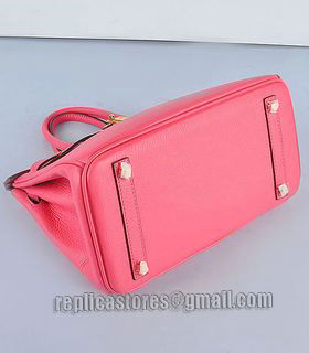 Hermes Birkin 30cm Lipstick Pink Togo Leather Bag Golden Metal-4