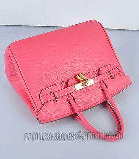 Hermes Birkin 30cm Lipstick Pink Togo Leather Bag Golden Metal-5