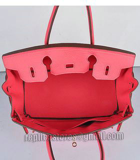 Hermes Birkin 30cm Lipstick Pink Togo Leather Bag Golden Metal-6