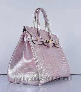 Hermes Birkin 35cm Pear Pink Croc Veins Leather Bag Golden Metal-1