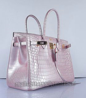 Hermes Birkin 35cm Pear Pink Croc Veins Leather Bag Golden Metal-3