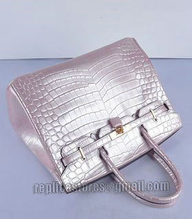 Hermes Birkin 35cm Pear Pink Croc Veins Leather Bag Golden Metal-5