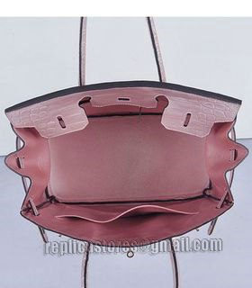 Hermes Birkin 35cm Pear Pink Croc Veins Leather Bag Golden Metal-6