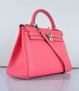 Hermes Kelly 32cm Lipstick Pink Togo Leather Bag with Silver Metal-1