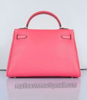 Hermes Kelly 32cm Lipstick Pink Togo Leather Bag with Silver Metal-2