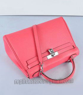 Hermes Kelly 32cm Lipstick Pink Togo Leather Bag with Silver Metal-4