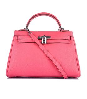 Hermes Kelly 32cm Lipstick Pink Togo Leather Bag with Silver Metal