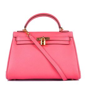 Hermes Kelly 32cm Lipstick Pink Togo Leather Bag with Golden Metal