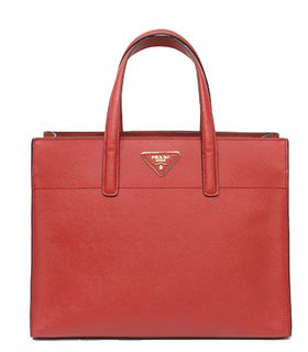 Prada Saffiano Cross Veins Leather Tote Red