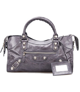 Balenciaga Large Part-Time Bag in Dark Grey Original Leather With White Nails